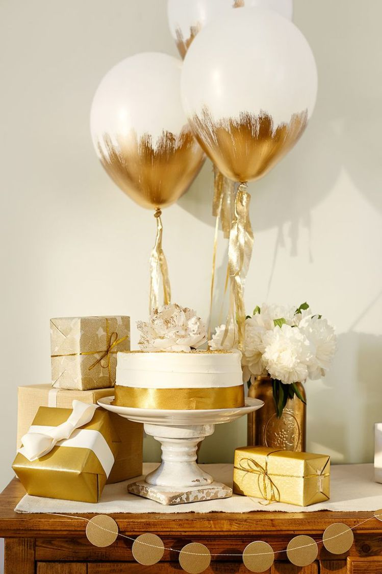 Gold Gifting table for Baby Shower