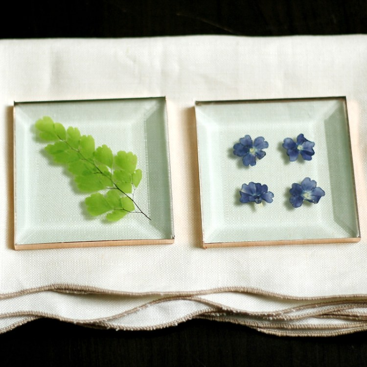 pressed flower glass coasters - DIY Mother's Day Gift Idea