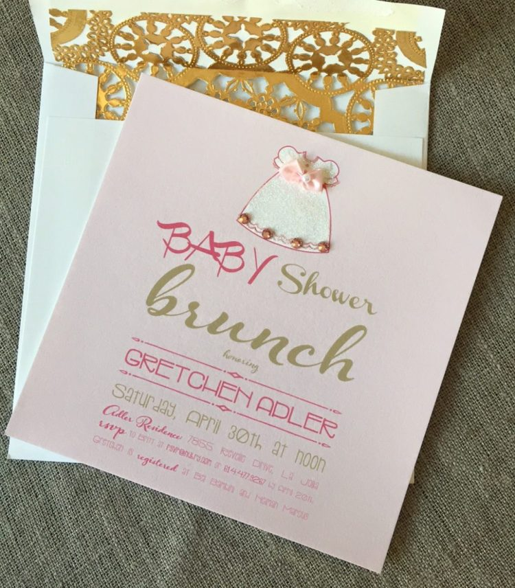 girl baby shower party invitations - DIY gold doily envelope