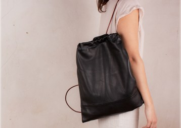 black leather backpack urban handmade nubuckcuir