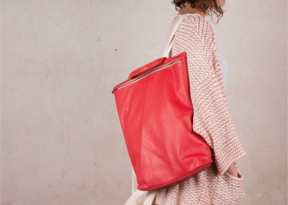 Leather backpack Hibrid Campari