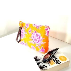 Orange with Pink Blooming Wristlet Bag
