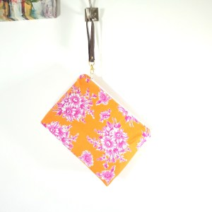 Orange with Pink Blooming Wristlet Bag