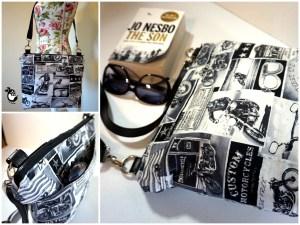 Motorcycle Newsprint Zipper Cross Body Bag