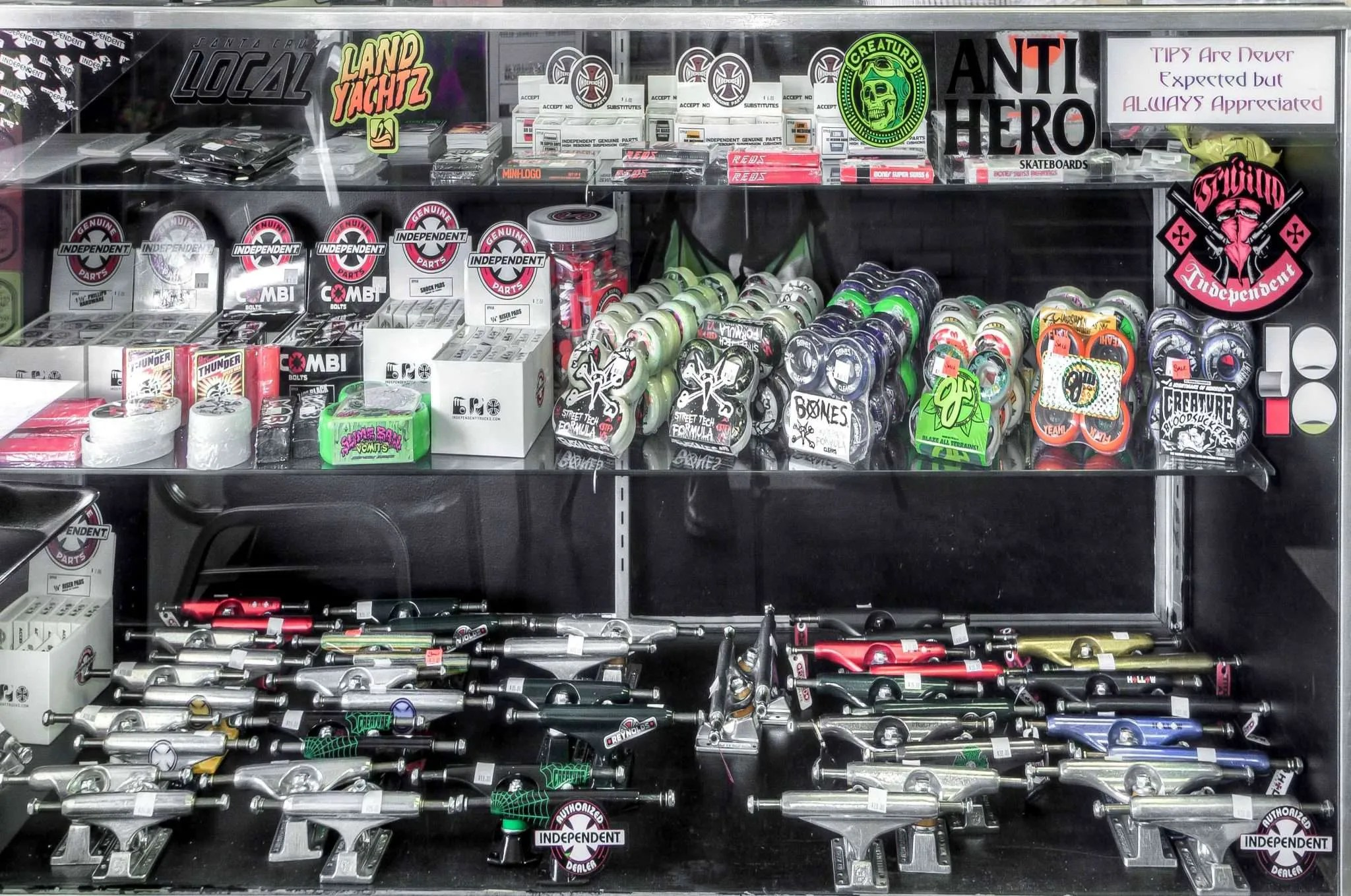 Wheels, trucks, bearings, and more.