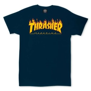 Thrasher Flame Logo Navy Shirt