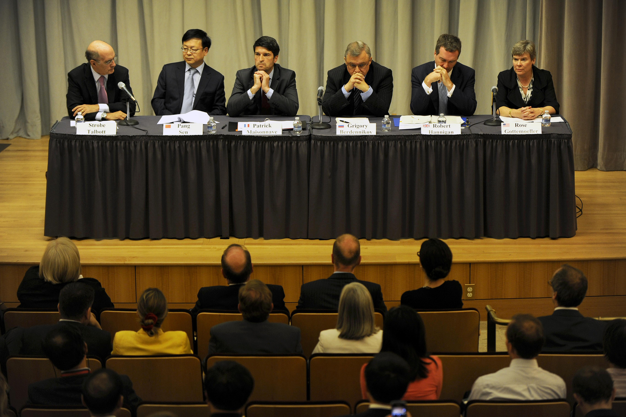 The heads of each P5 delegation discuss efforts to fulfill their NPT Article VI commitments, during a public event at the U.S. Department of State (June 27, 2012).