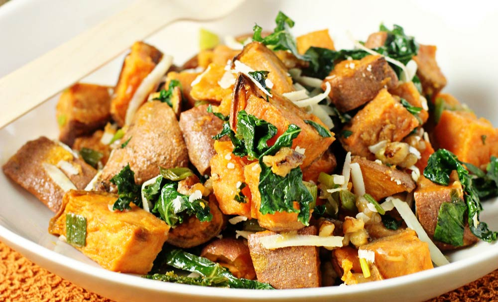 Healthy Comfort Food:  Warm Sweet Potato, Kale Salad, With Roasted Garlic and Dijon Vinaigrette!!