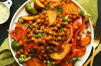 healthy-30-minute-savory-broccoli-sweet-potato-chickpea-salad-with-a-simple-garlicl-dill-sauce-vegan-glutenfree-dinner-recipe