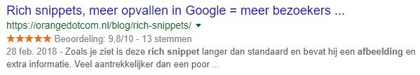 rich snippets, reviews belangrijk, online marketing