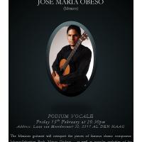 15 de febrero: Recital  de música clásica en la Haya  por el guitarrista  mexicano José María Obeso.
