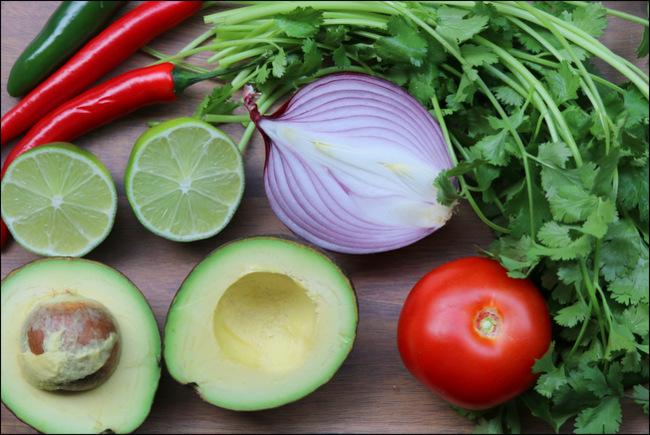 Ingredientes del guacamole mexicano