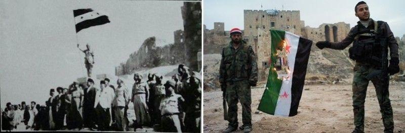 """La bandera que se usó bajo mandato francés (1932-1958) es la misma que hoy es considerada como """"bandera de la revolución"""" y usan los """"rebeldes sirios"""" y motivo por lo que la inmensa mayoría de la población siria rechaza"""