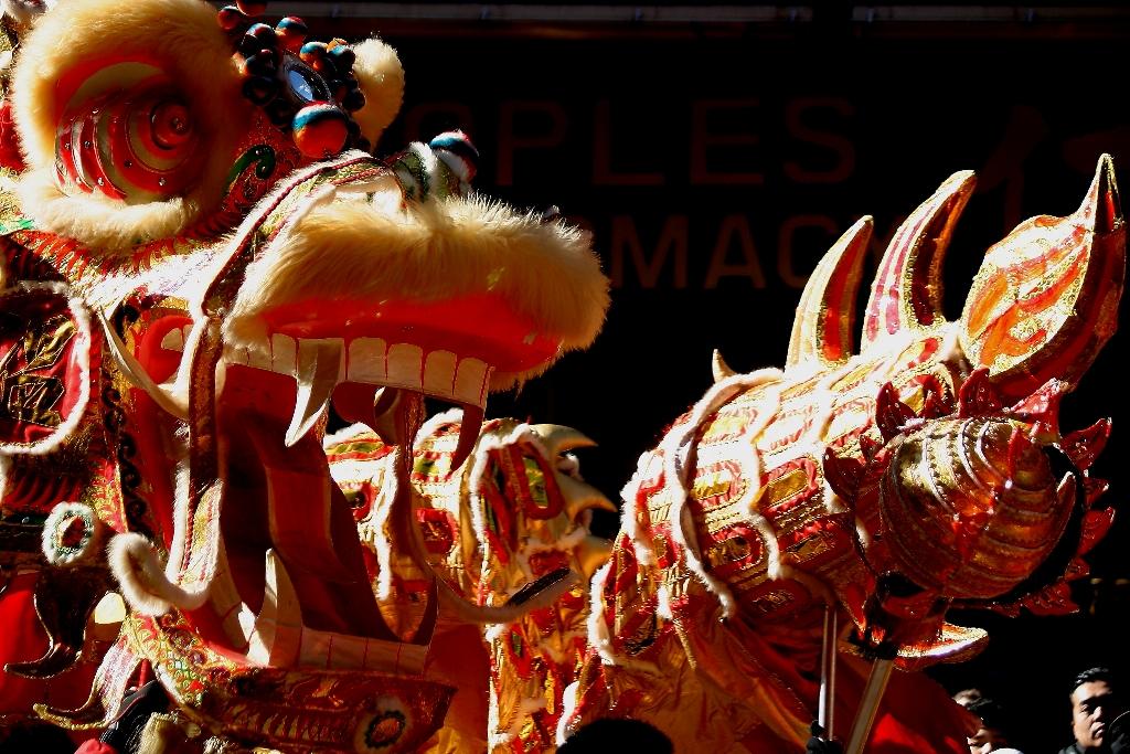 Dragon chino en el desfile en celebración del año de la serpiente. Foto