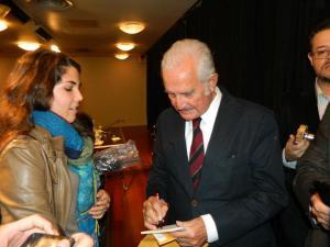 Carlos Fuentes en su ultima presentación en Nueva York. Foto NYD