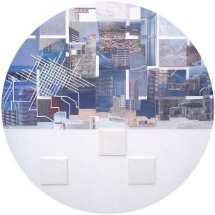 Paulina Vanedaño. Horizonte sensible, dibujo collage sobre madera. 70 cm. 2013. Selección del jurado