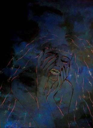 Elizabeth Serantes. Mujer celestial, acrílico sobre lienzo. 45 x 60 cm. 2013. Selección del público: 860 votos