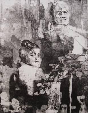 Jazmín Sterle. Des-ocultamiento o Ale Sentir, aguafuerte-aguatinta. 38 x 28 cm. 2012. Selección del jurado