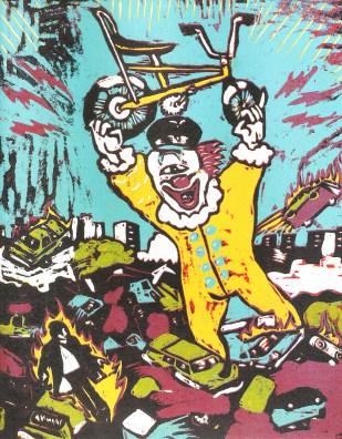 Bruno Lebinski. Bicicleta o muerte, xilografía- taco perdido. 25 x 20 cm. 2011. Selección del público: 844 votos