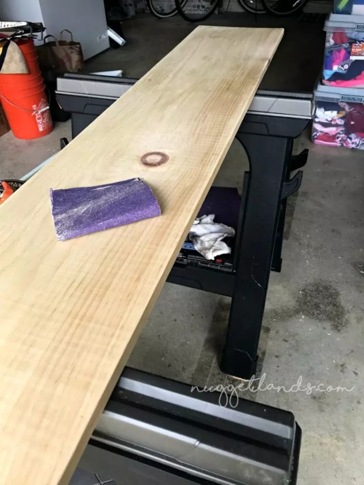 laundry shelf sanded