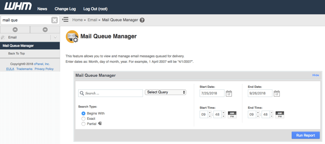 Mail Queue Manager WHM