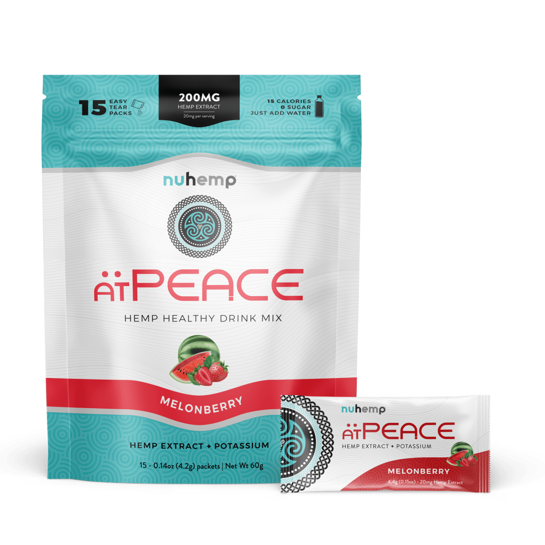 Nuhemp atPEACE Broad Spectrum Hemp Extract plus Potassium with 15 20mg Easy Tear Drink packets per each resealable bag