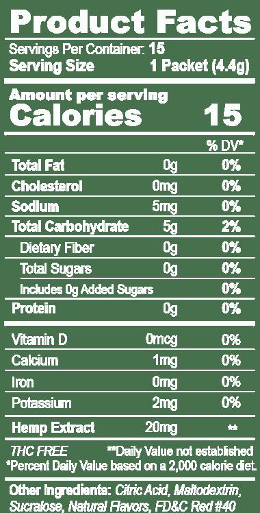 Nuhemp atPEACE Calming Hemp Extract Drink Mix Product Facts Panel with potassium