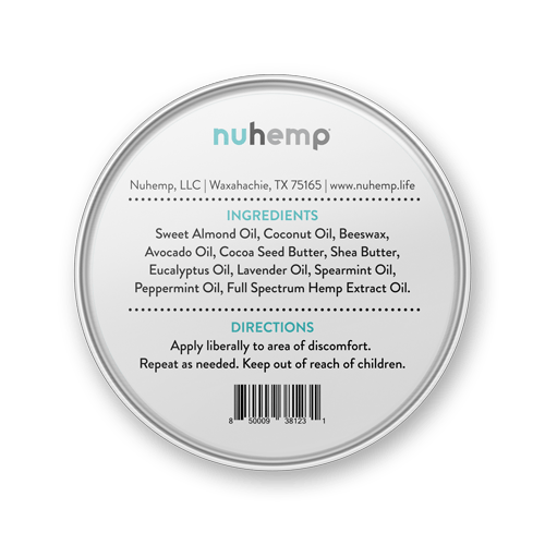 Nuhemp hemp extract balm salve tin ingredients
