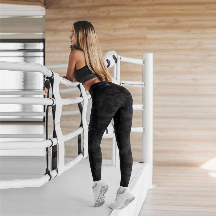 Grey Camo Capri Yoga Pants