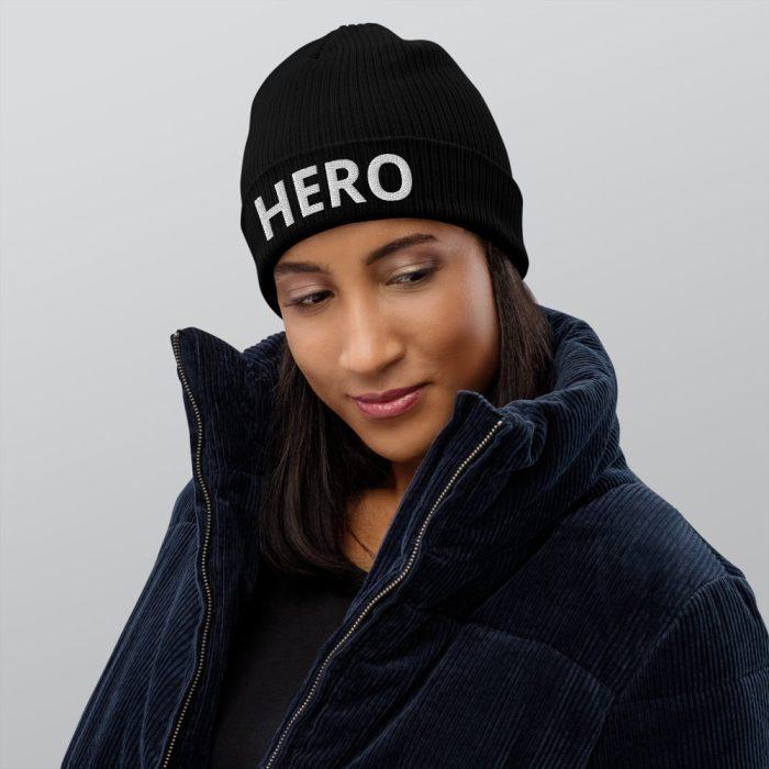Brand Hero Organic Ribbed Black Beanie