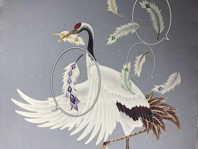 鶴の加賀友禅名古屋帯に加賀繍のあしらい・途中経過