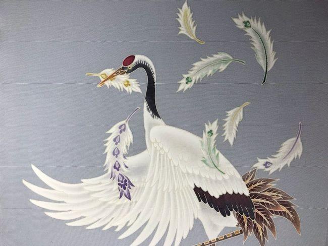 鶴の加賀友禅名古屋帯に加賀繍のあしらい・ここから始まり