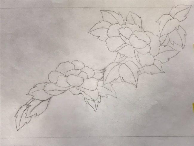 牡丹と蝶の花丸紋の加賀繍の名古屋帯の腹部分の最終形の下絵・斜めに流れ図案①