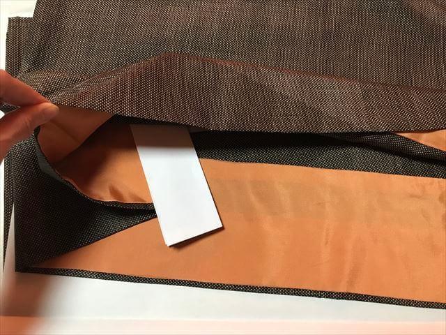 「和裁工房まゆ」の仕立て上がりの着物の受け取り。仕立て上がりの着物の衿部分