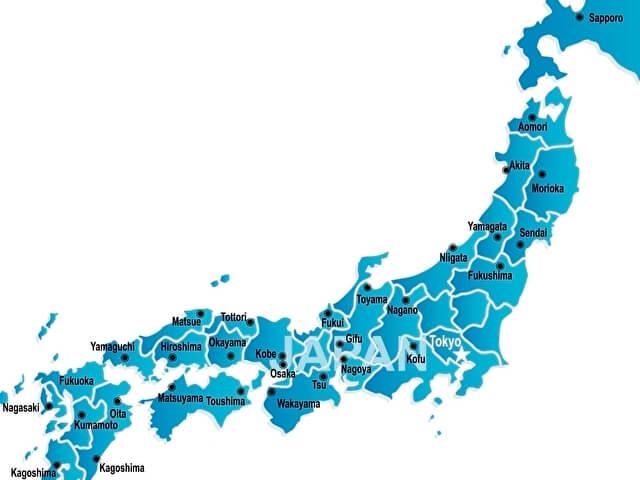 日本地図 青色の日本地図