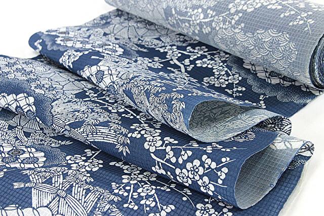 綿紅梅の浴衣 竺仙製の紺地に白の浴衣の反物