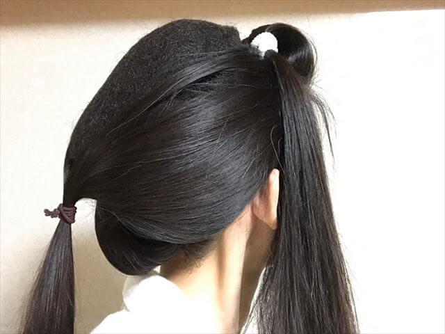 着物の髪型 40代50代 簡単に自分で出来る訪問着に合う和装ヘアアレンジ ロング 途中経過4