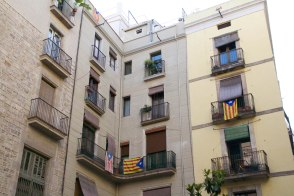 Estelada flags hang off a building in the Gothic Quarter of Barcelona.