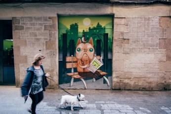 Mural located at Carrer de Sant Pere Més Baix in Barcelona.