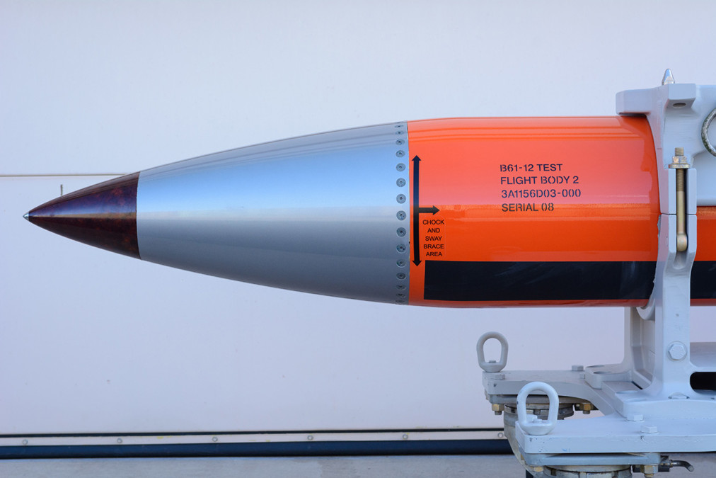 "A flight test body of a B61-12 is a semi-operational copy of the nuclear weapon but without the ""physics package"" (nuclear bomb) or functional tail fins."
