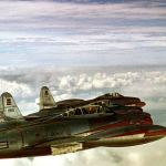 Republic F-84G Thunderjets of the 55th Fighter Bomber Squadron cruise over the Atlantic Ocean enroute to England in 1952. In a few months, the 20th Fighter Bomber Wing had developed tactics for a nuclear strike mission, the first USAF fighter unit to pick up a nuclear role.