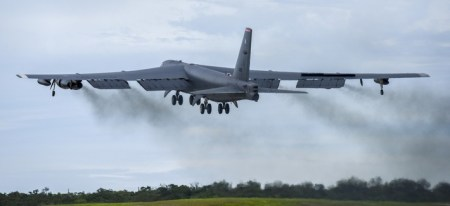 U.S. AIR FORCE / SENIOR AIRMAN CHRISTOPHER QUAIL  AA FONT SIZE + PRINT A U.S. Air Force B-52H Stratofortress bomber takes off from Andersen Air Force Base, Guam, for a routine training mission in the vicinity of the South China Sea and Indian Ocean, Sept 23, 2018.