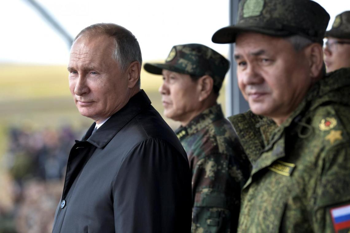 The Return of Doomsday: Vladimir Putin and his Defense Minister Sergei Shoigu stand by Chinese Defense Minister Wei Fenghe during a military parade, 2018. Sputnik / Alexei Nikolsky / Kremlin via Reuters