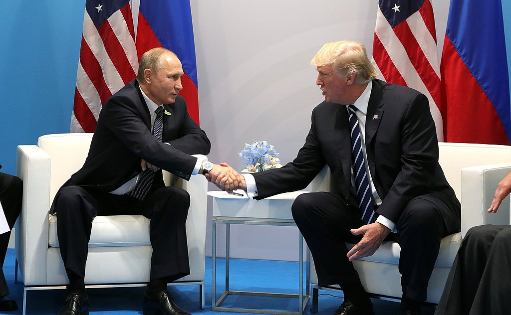Vladimir Putin and Donald Trump meet at the 2017 G-20 Hamburg Summit