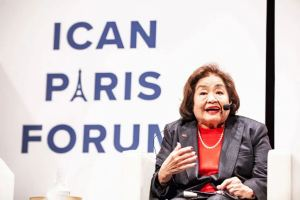 "Hiroshima, ICAN, Nuclear Modernization, trump administration, W93, Setsuko Thurlow, a Hiroshima survivor, speaking at the ICAN Paris Forum ""How to ban bombs and influence people."" Photo credit: Orel Kichigai 