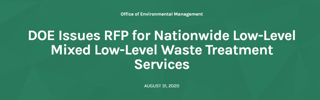 Energy Dept. Taking Bids for Nationwide Waste Treatment Services