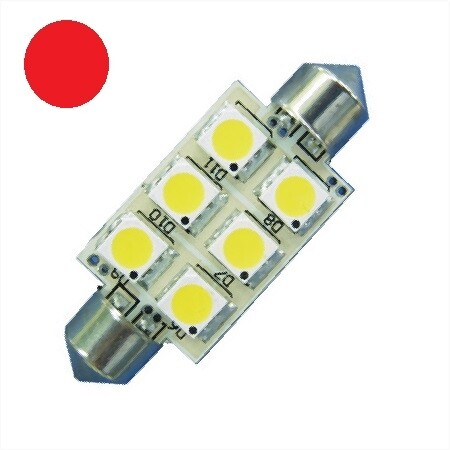 C5W LED Festoon Buislamp 6 SMD Rood