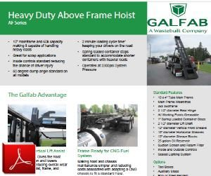 GALFAB AF Series Cable Hoist for Roll-off Container Truck