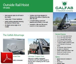 GALFAB Outside Rail Cable Hoist for Roll-off Trucks