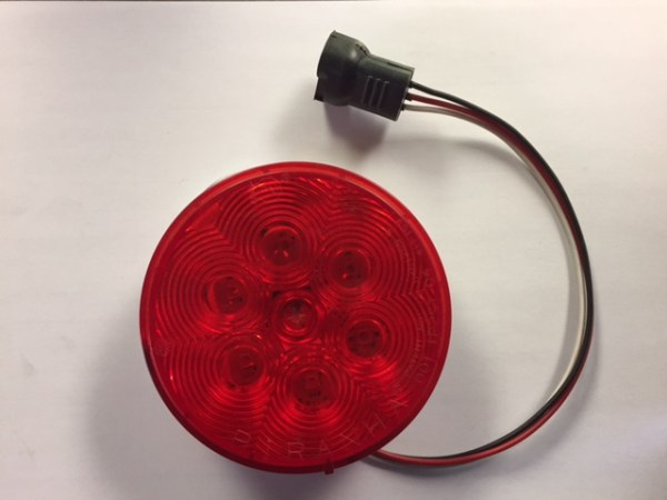 "4"" Round Red LED Taillight with plug M417R-3P"